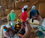 hand knitted birds
