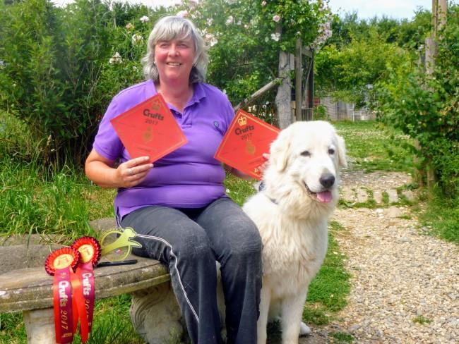 Anita Edwards with Kiera the Maremma & Crufts certificates