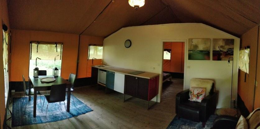 safari tent living area